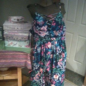 Tropical maxi dress with built in shorts